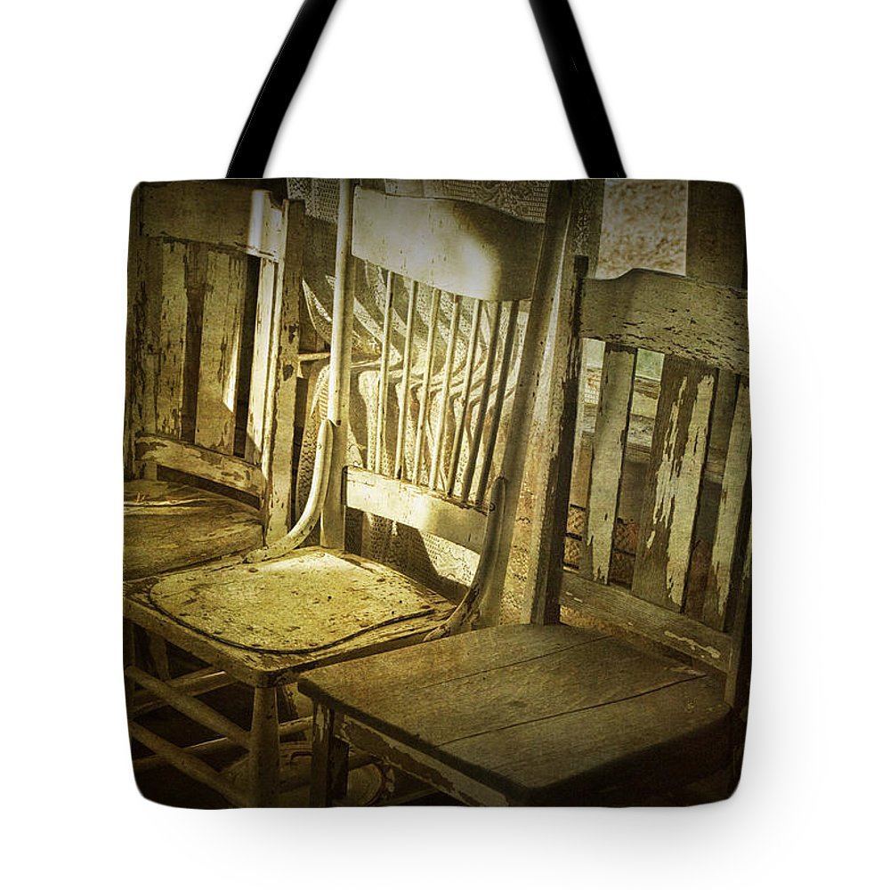 Art Tote Bag featuring the photograph Three Vintage Wooden Chairs by Randall Nyhof