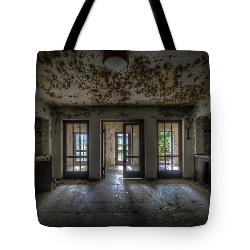 Urbex Tote Bag featuring the digital art Three Way Entrance by Nathan Wright