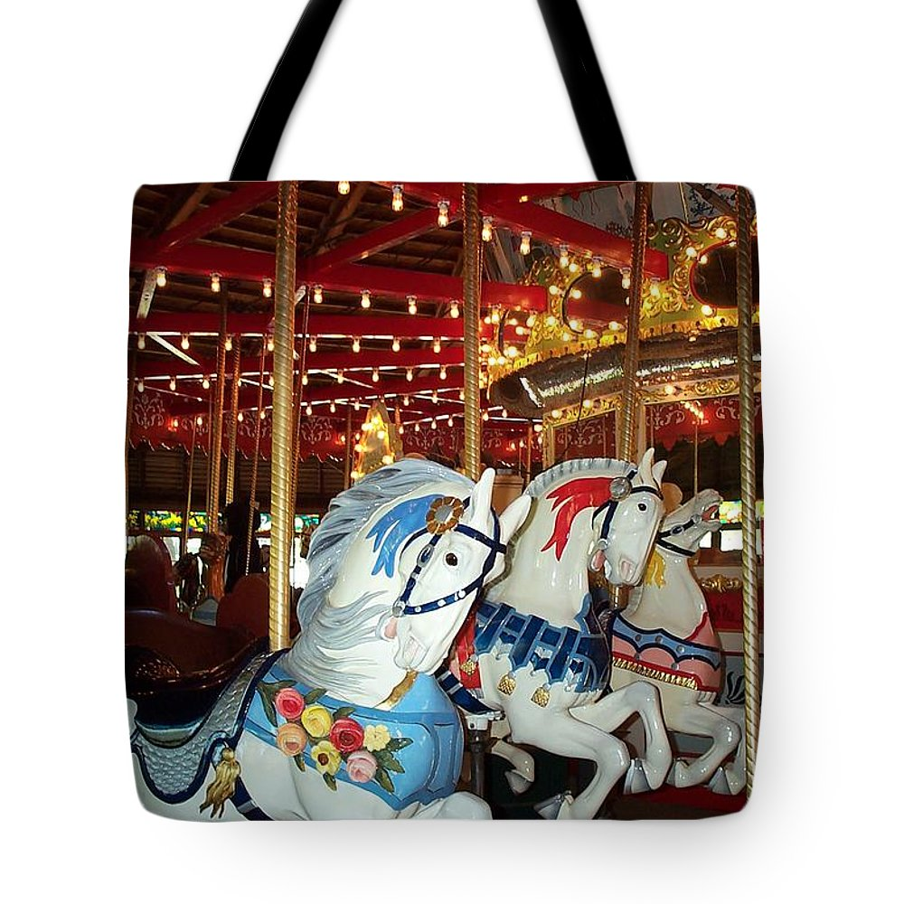 Hartford Tote Bag featuring the photograph Three White Ponies by Barbara McDevitt