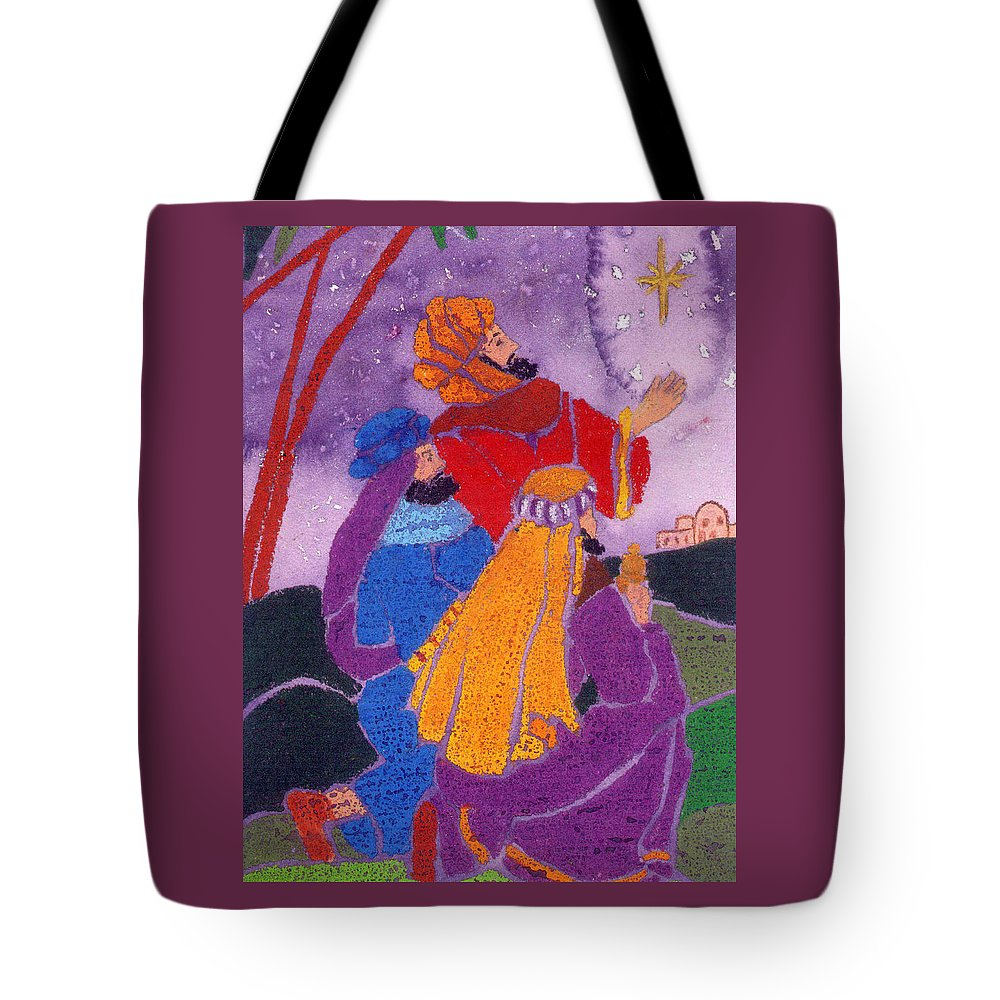 Christmas Tote Bag featuring the painting Three Wise Men by Carol Lindquist