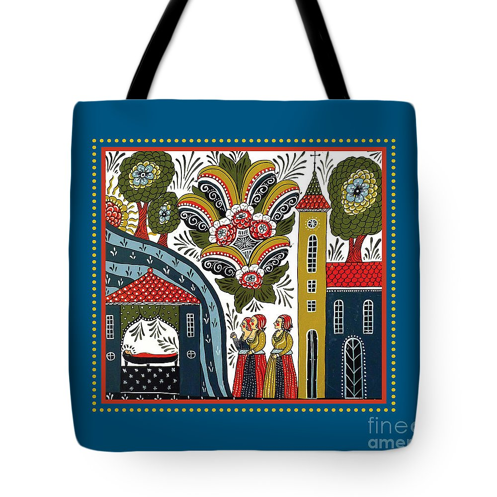 Swedish Folk Art Tote Bag featuring the painting Three Women by Leif Sodergren