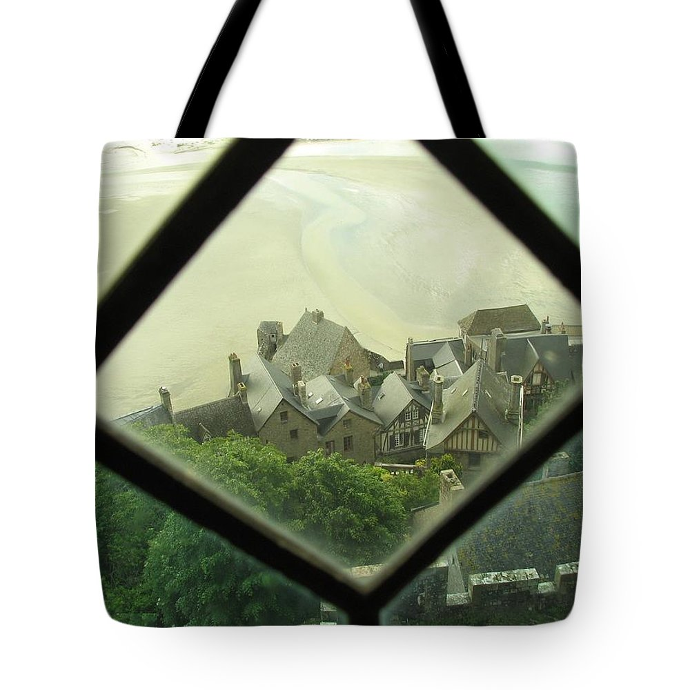 Le Mont St-michel Tote Bag featuring the photograph Through A Window To The Past by Mary Ellen Mueller Legault