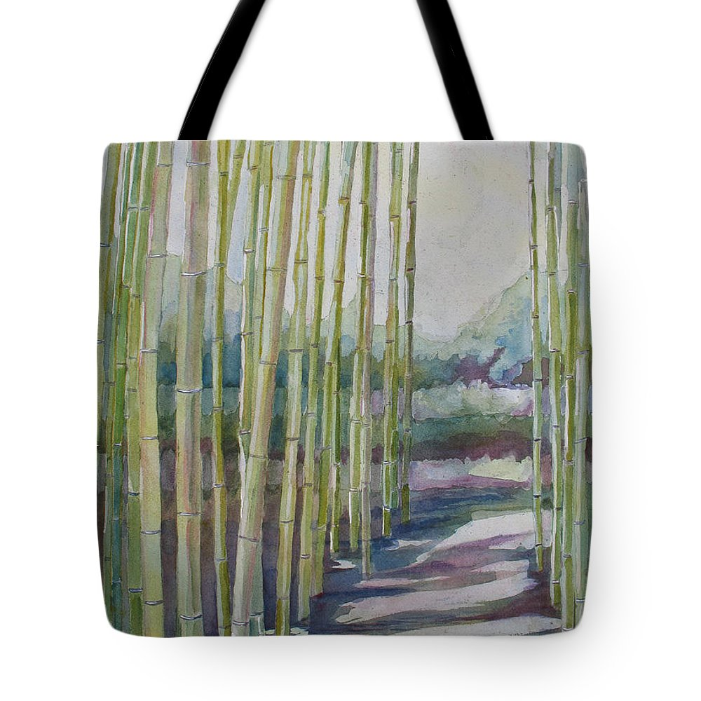 Bamboo Tote Bag featuring the painting Through The Bamboo Grove by Jenny Armitage