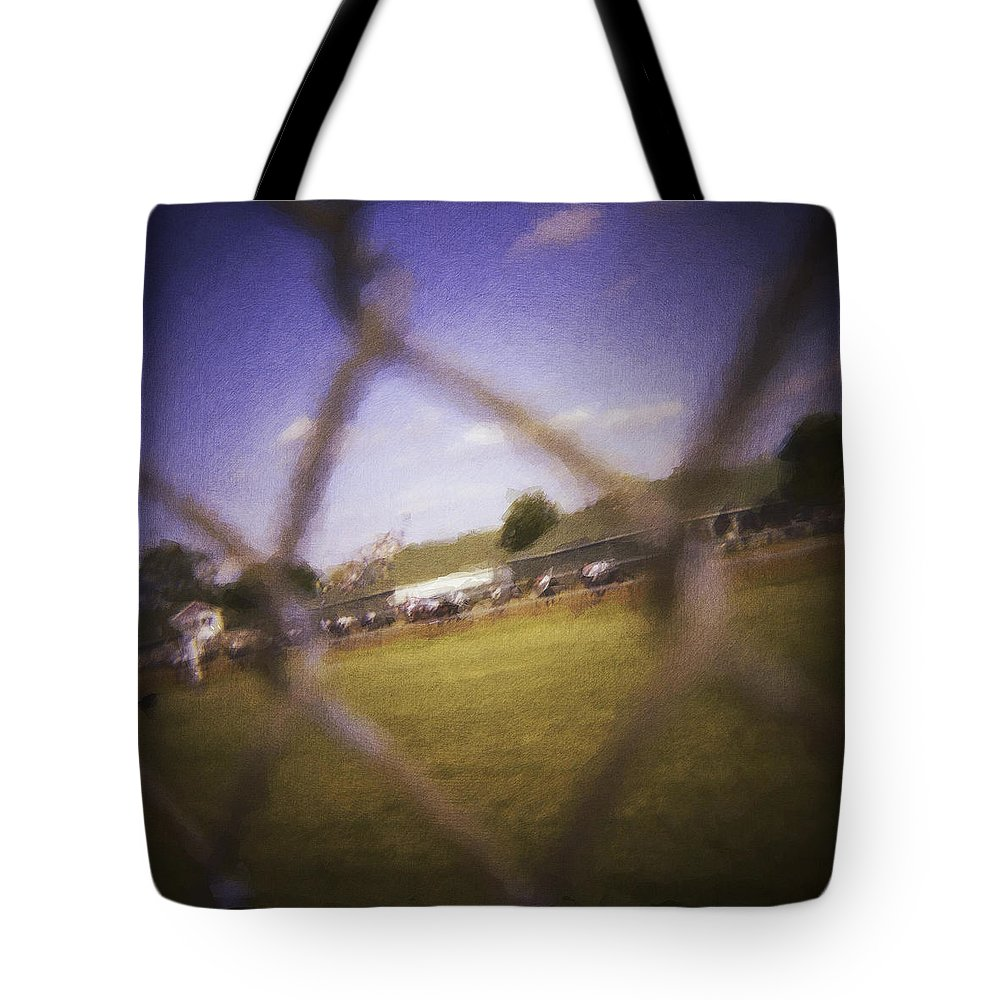 Kentucky Derby Tote Bag featuring the photograph Through The Fence Neo by David Lange