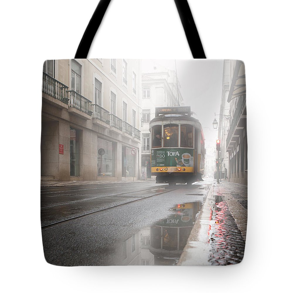 Lisbon Tote Bag featuring the photograph Through The Fog by Jorge Maia