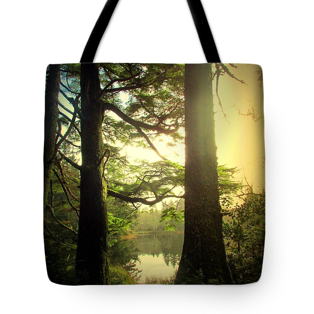 Lake Tote Bag featuring the photograph Through The Forest To The Lake by Joyce Dickens