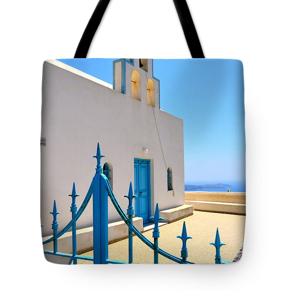 Santorini Tote Bag featuring the photograph Through The Gates by Corinne Rhode