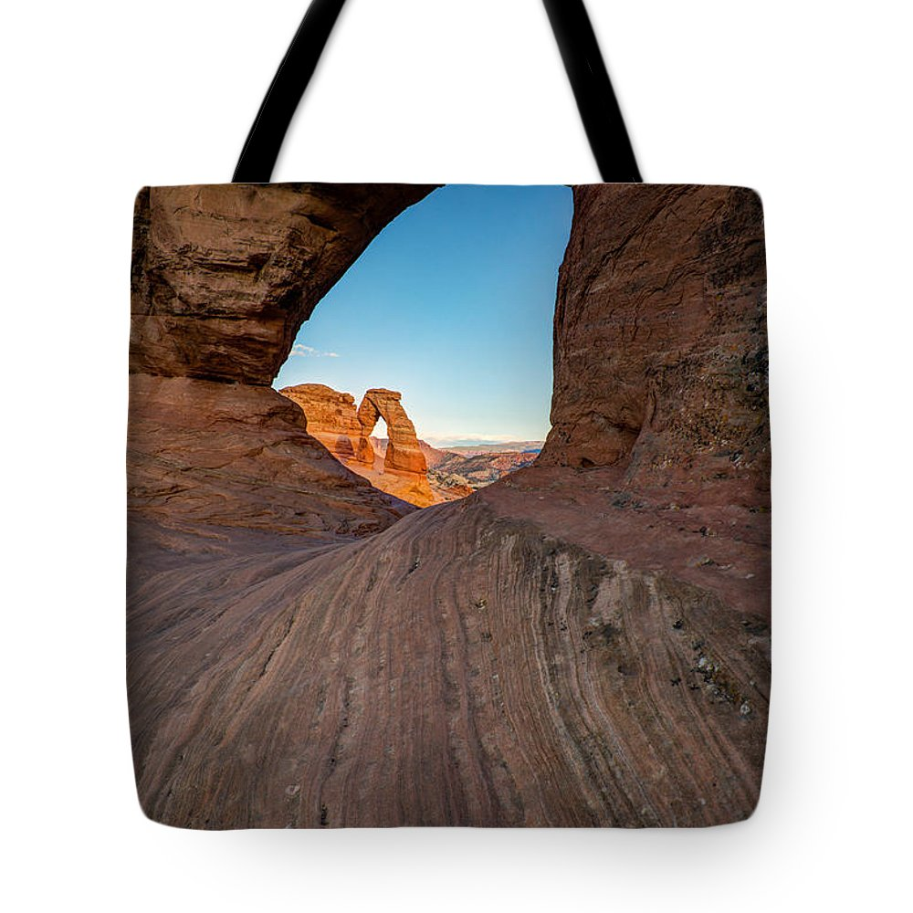Utah Tote Bag featuring the photograph Through The Needle by Dustin LeFevre