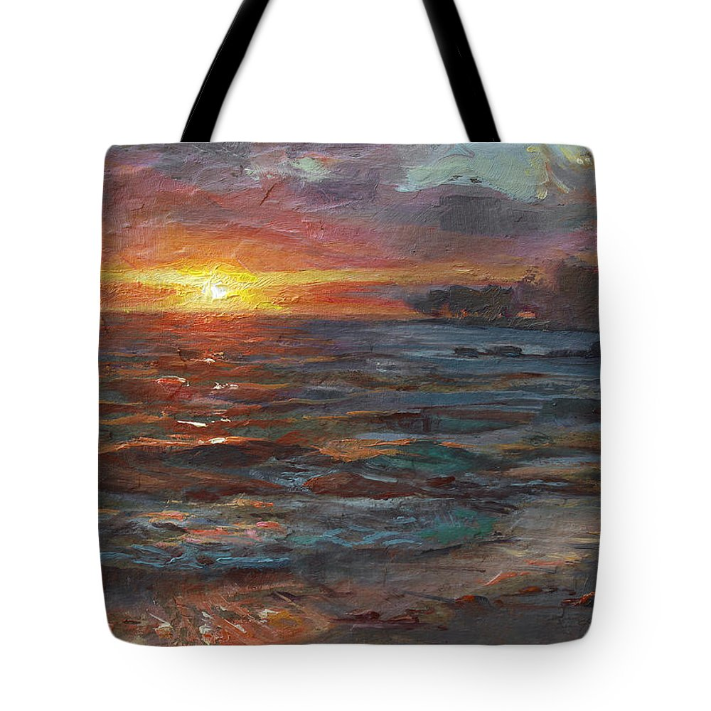 Hawaii Tote Bag featuring the painting Through The Vog - Hawaii Beach Sunset by Karen Whitworth