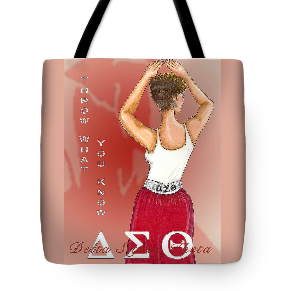 Delta Sigma Theta Tote Bag featuring the digital art Throw What You Know Series - Delta Sigma Theta by BFly Designs