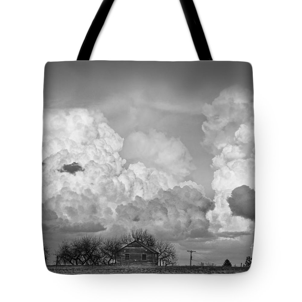 Weather Tote Bag featuring the photograph Thunderstorm Clouds And The Little House On The Prarie Bw by James BO Insogna