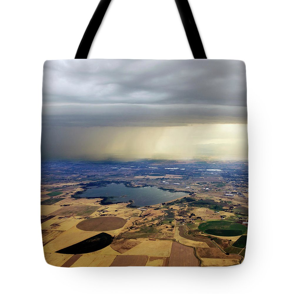 Tranquility Tote Bag featuring the photograph Thunderstorm Over Denver, Colerado by Gail Shotlander