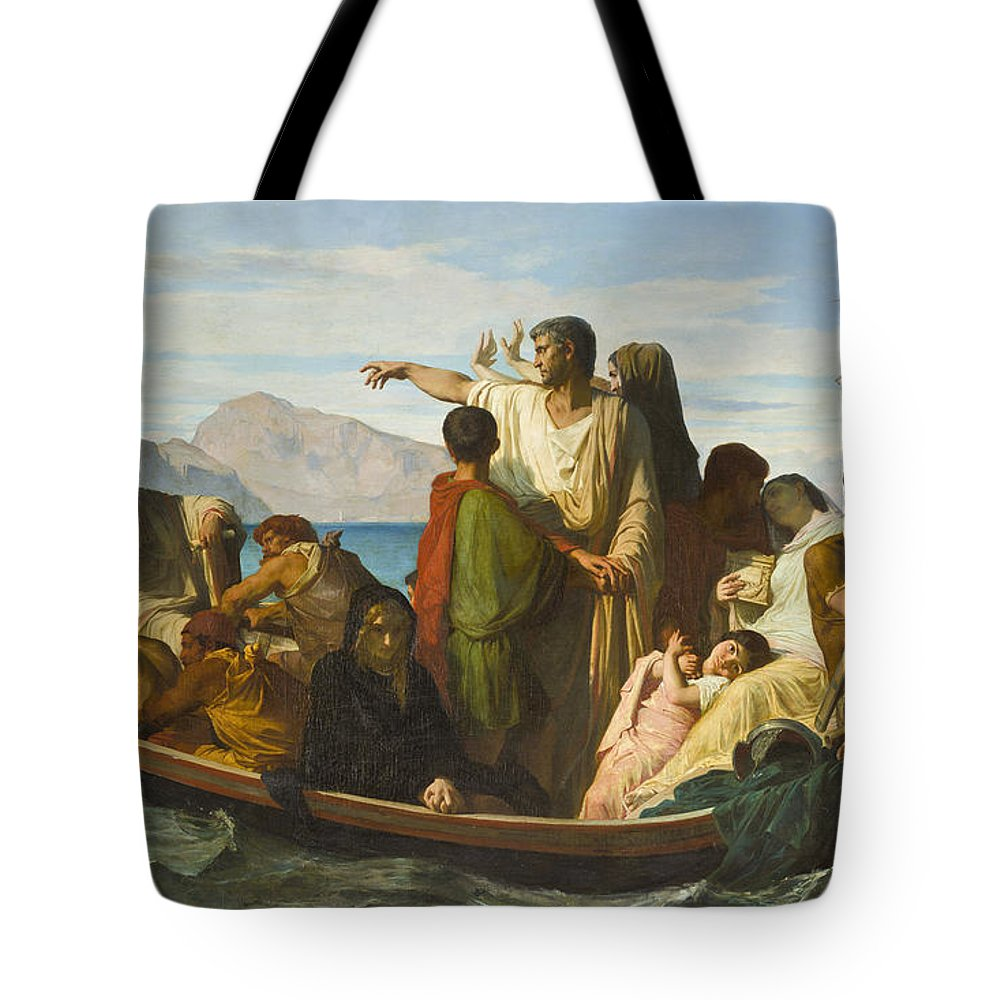 Felix-joseph Barrias Tote Bag featuring the painting Tiberius Exiles by Felix Joseph Barrias