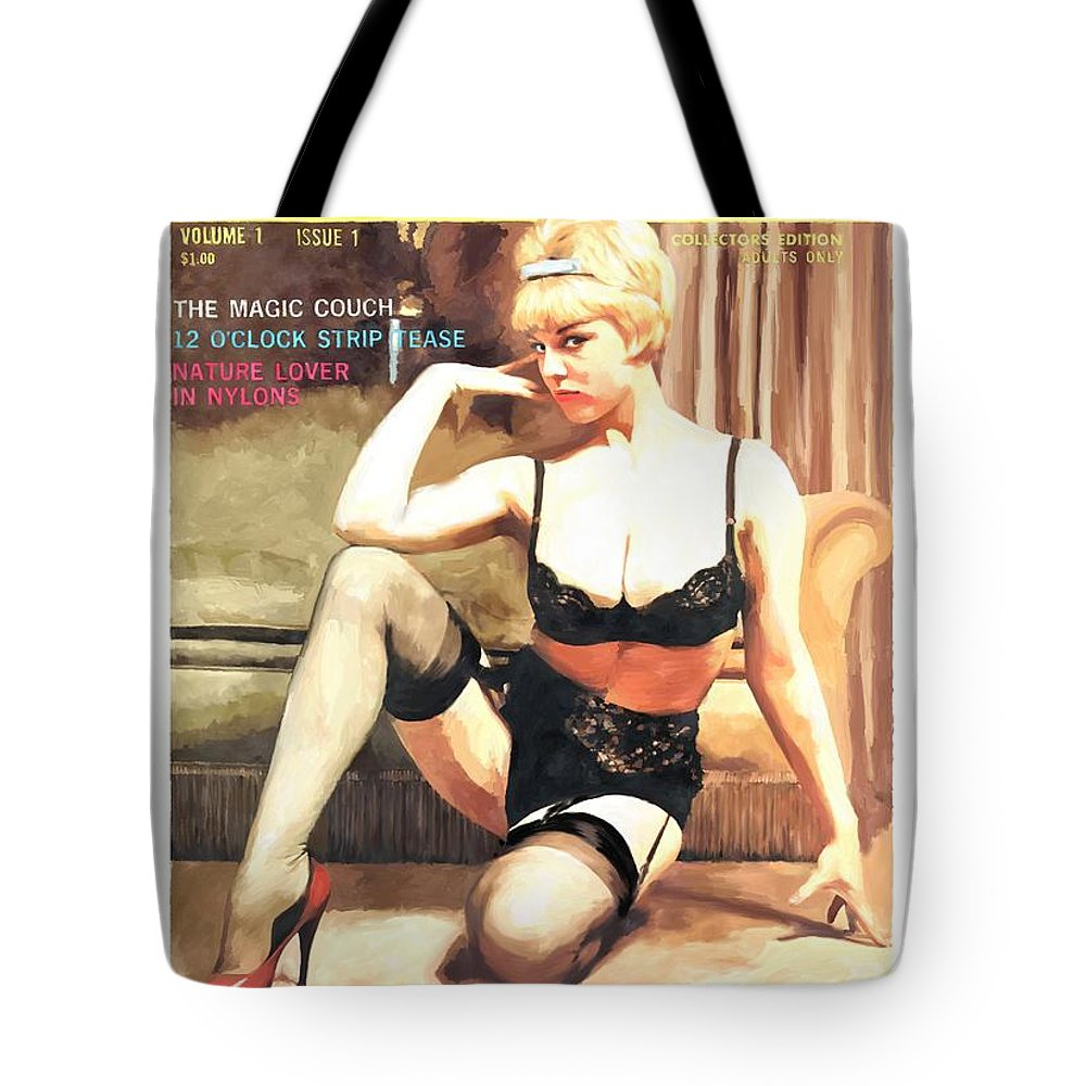 Tic-toc Tote Bag featuring the digital art Tic-Toc - Vintage Magazine Covers Series by Gabriel T Toro
