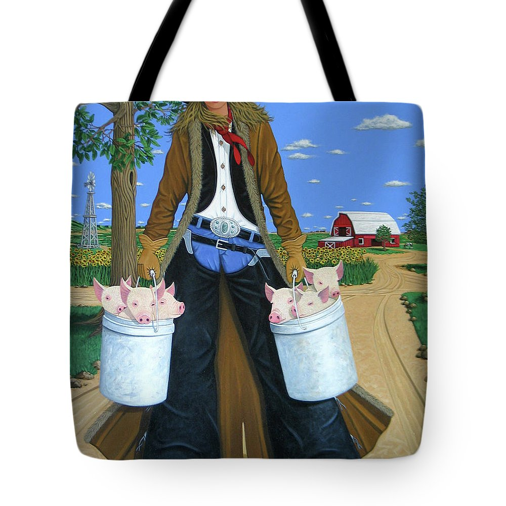 Little Piglets Tote Bag featuring the painting Tickled Pink by Lance Headlee