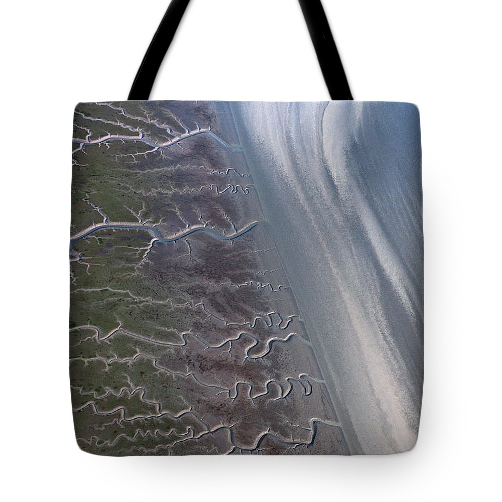 Feb0514 Tote Bag featuring the photograph Tidal Channels At Low Tide Cook Inlet by Ingo Arndt