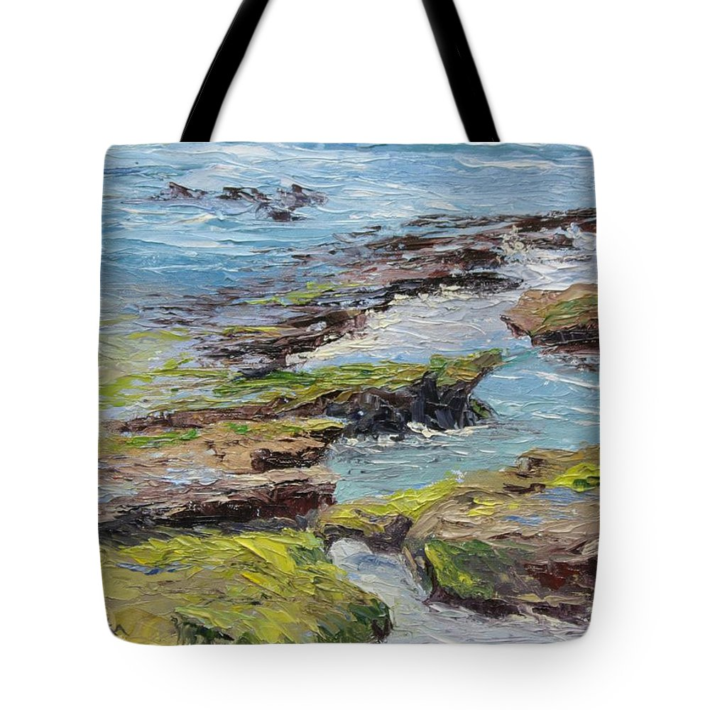 Tide Pools Tote Bag featuring the painting Tide Pools Revealed  Cardiff by Inka Zamoyska