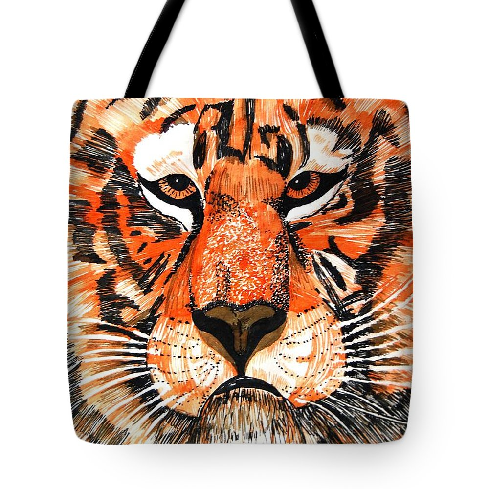 Tiger Tote Bag featuring the photograph Tiger by Angela Murray
