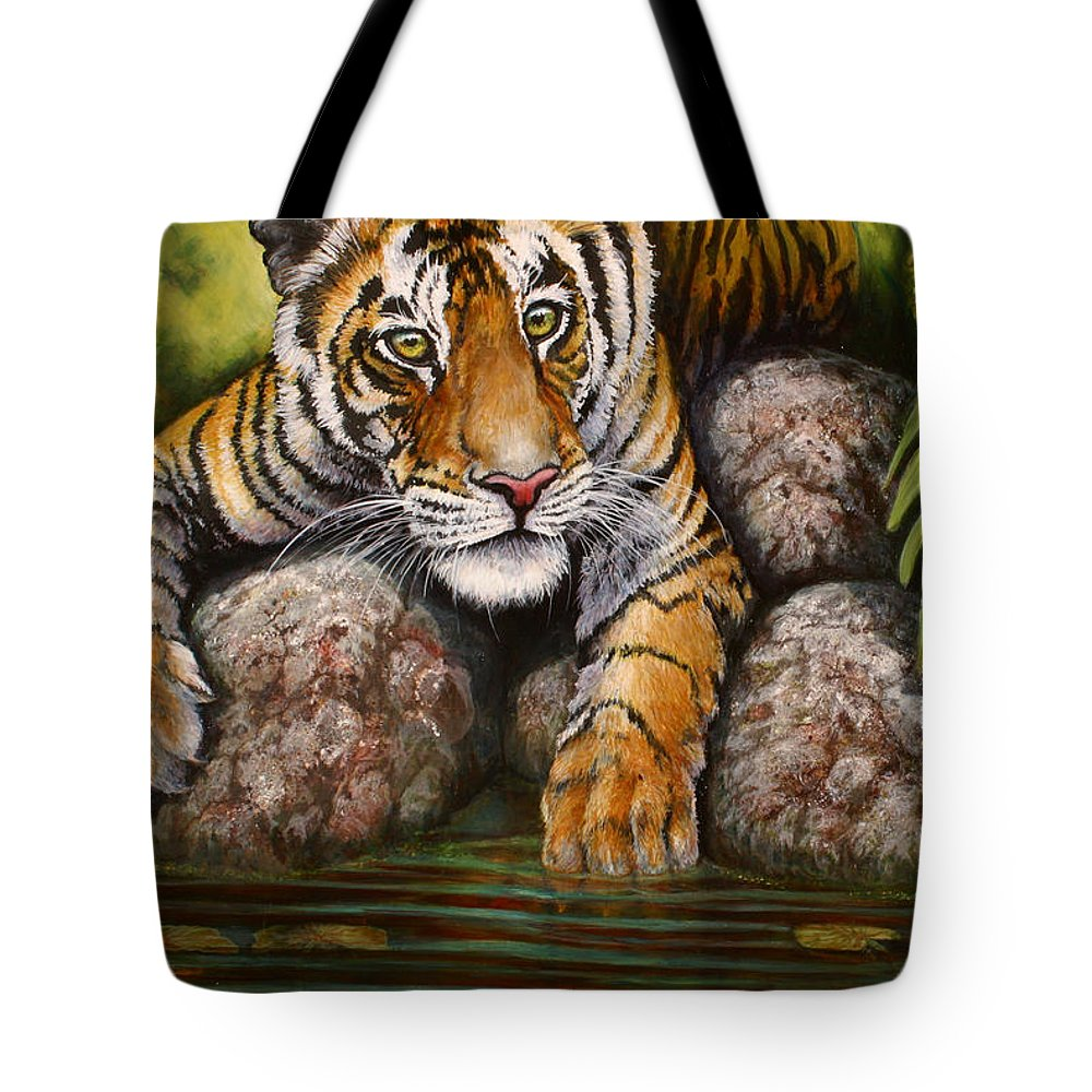 Tiger Tote Bag featuring the painting Tiger by Beth Gramith
