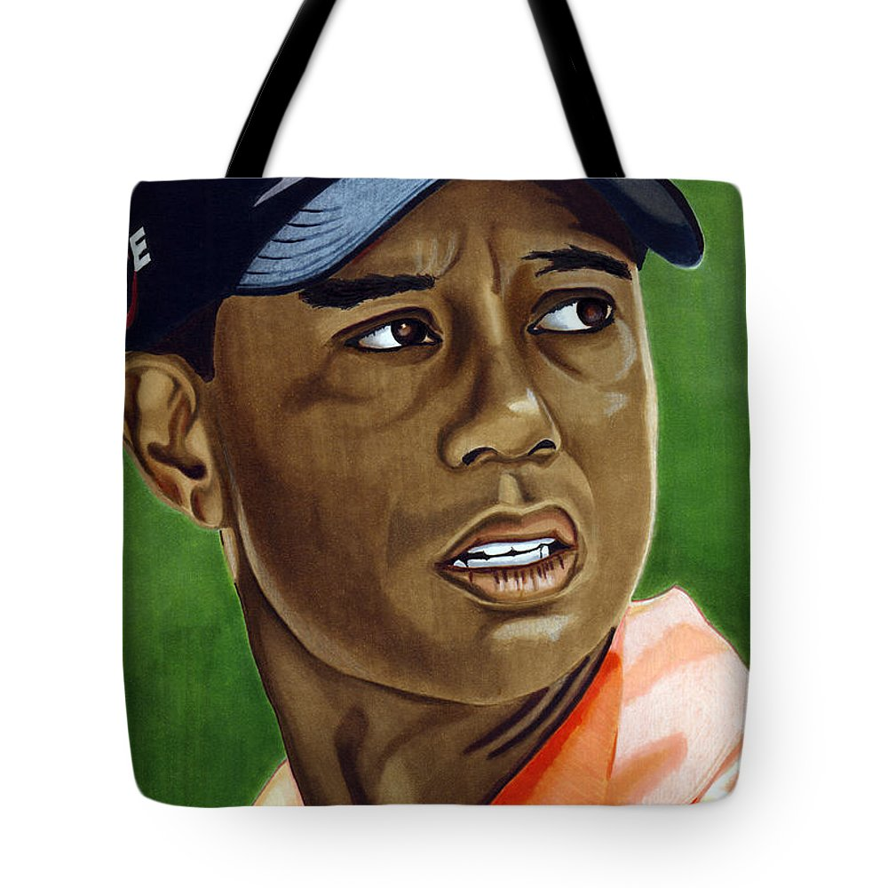 Golf Tote Bag featuring the drawing Tiger by Cory Still