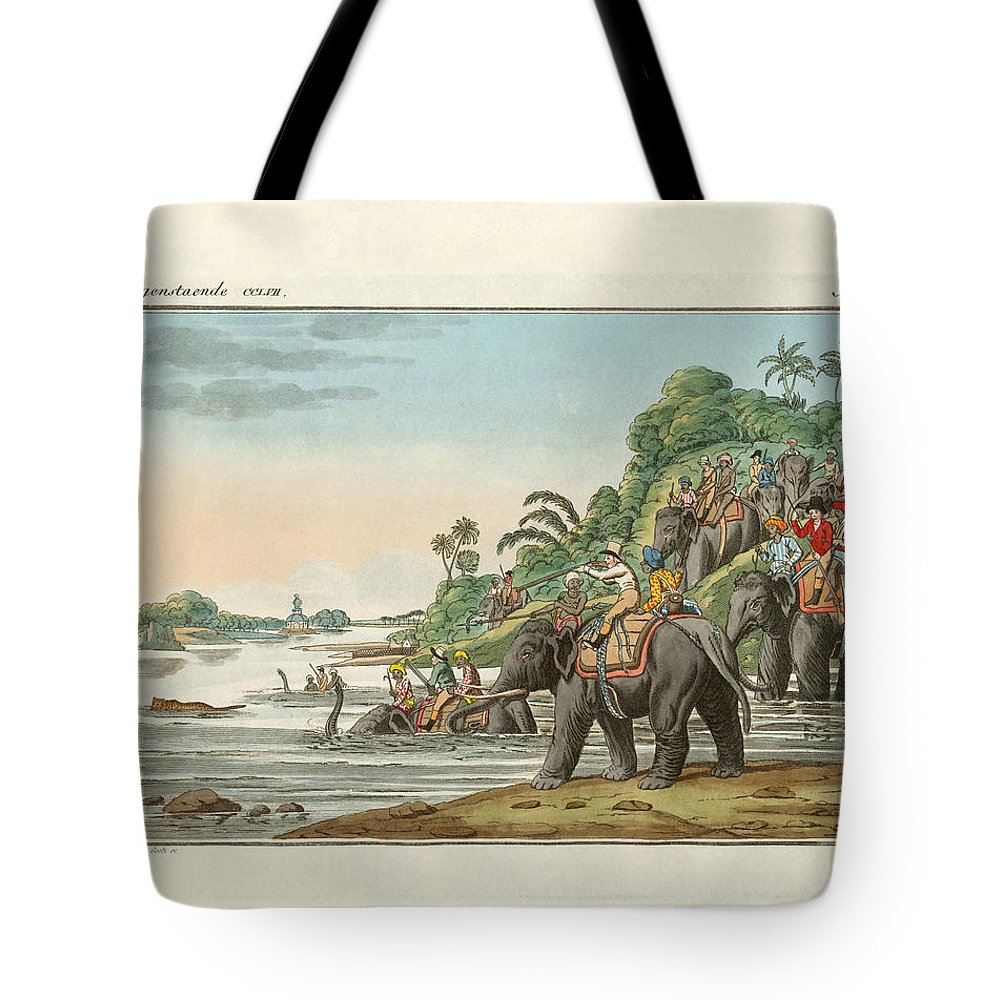 Bertuch Tote Bag featuring the drawing Tiger Hunting On An Indian River by Splendid Art Prints