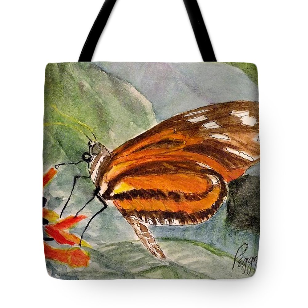 Nature Tote Bag featuring the painting Tiger Longwing by Peggy King
