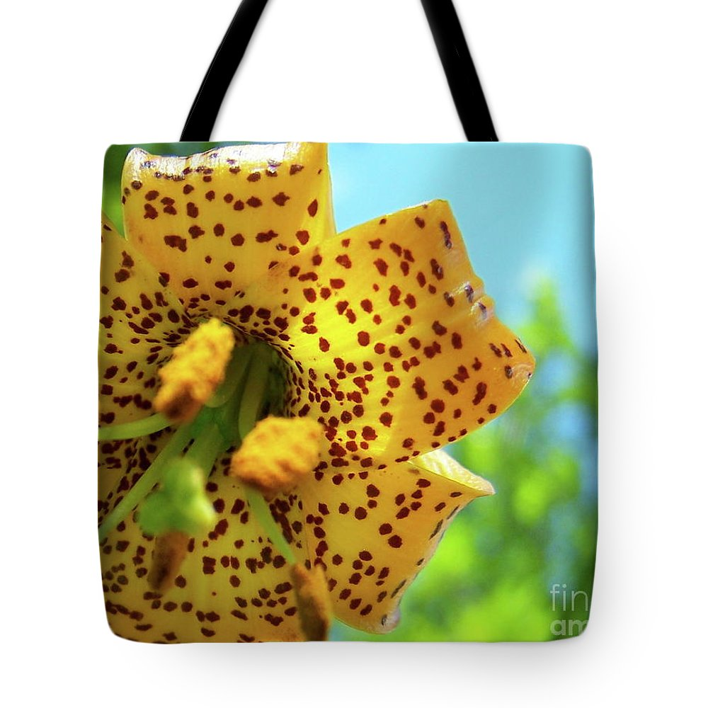 Flower Tote Bag featuring the photograph Tiger 'n' Sky by Jamie Johnson
