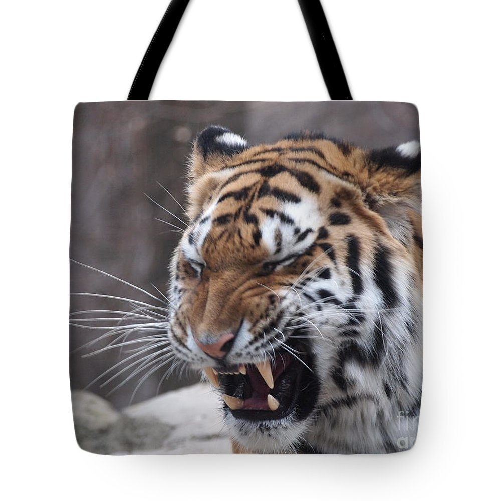 Tiger Tote Bag featuring the photograph Tiger Smile by Jennifer Craft