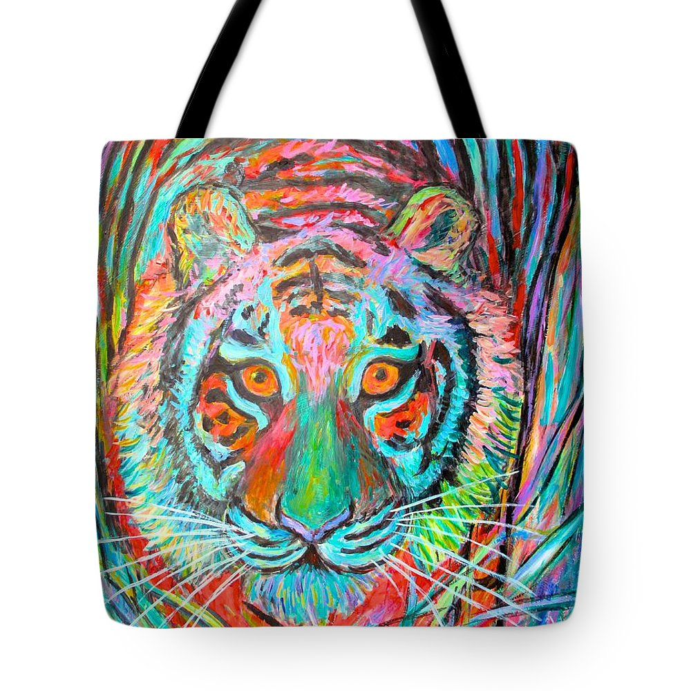 Tiger Tote Bag featuring the painting Tiger Stare by Kendall Kessler