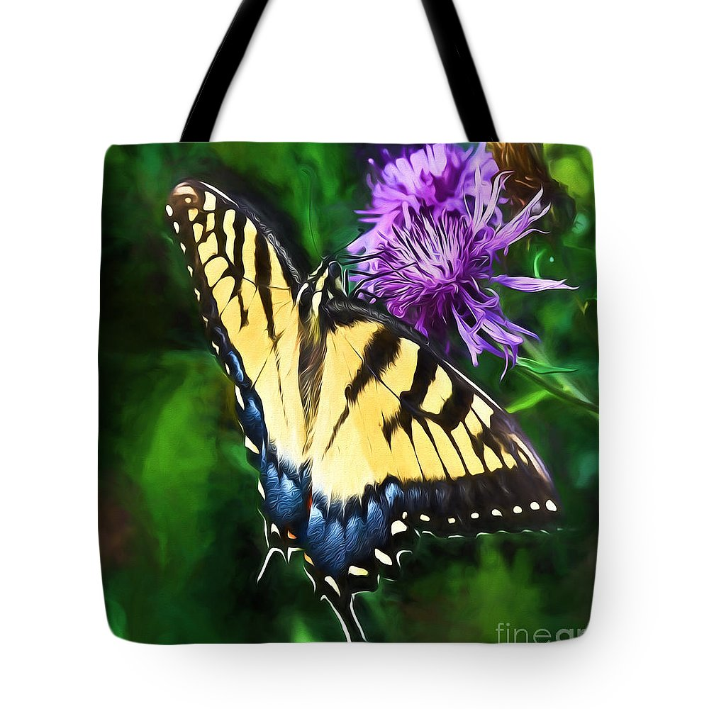Eastern Tiger Swallowtail Butterfly Tote Bag featuring the photograph Tiger Takes A Drink by Kerri Farley