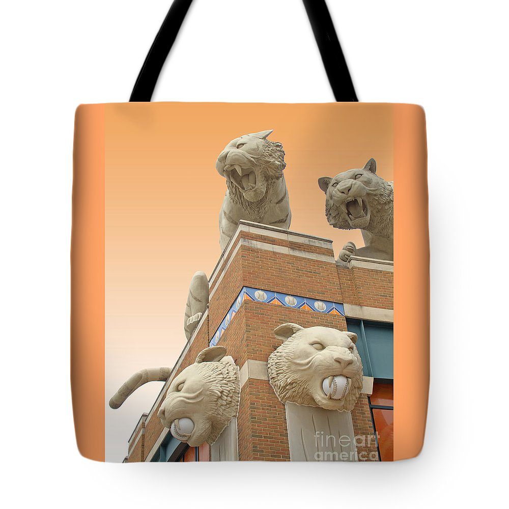 Detroit Tote Bag featuring the photograph Tiger Town by Ann Horn