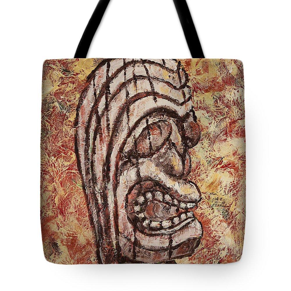 Hawaiian Tote Bag featuring the painting Tiki God by Darice Machel McGuire