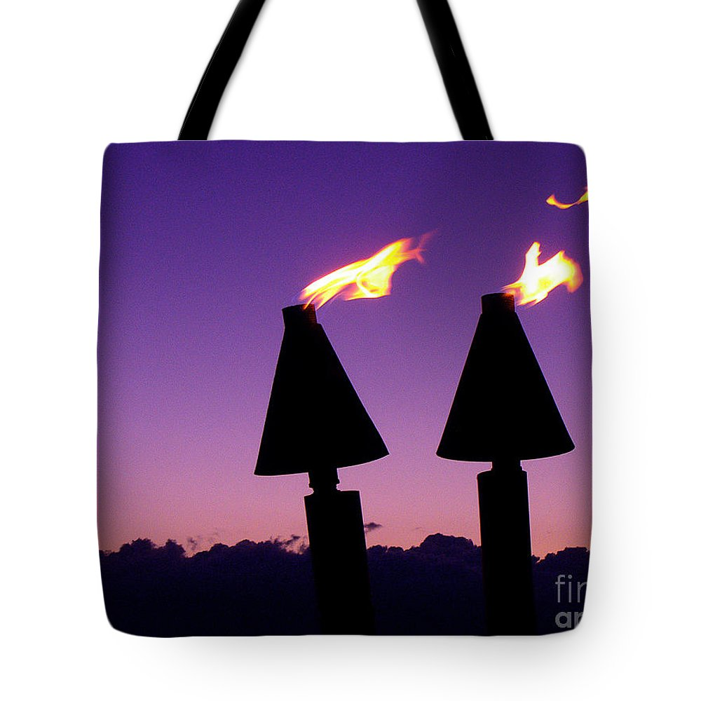 Tiki Tote Bag featuring the photograph Tiki Torches by Jerome Stumphauzer