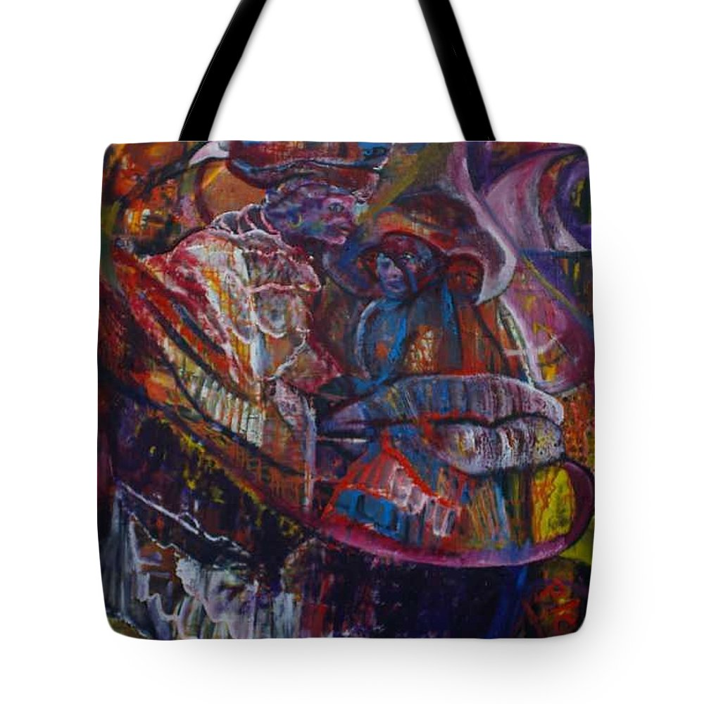 African Women Tote Bag featuring the painting Tikor Woman by Peggy Blood