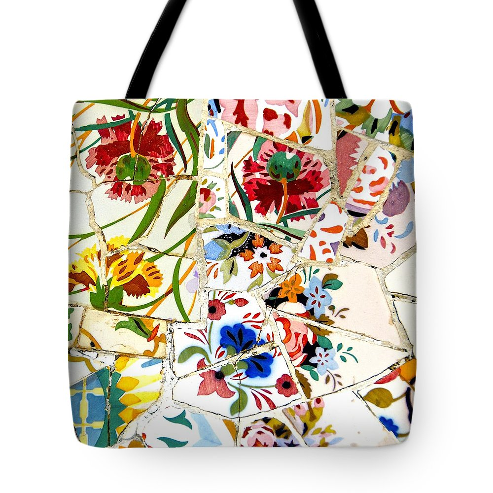 Wall Tote Bag featuring the photograph Tile Work In The Antoni Gaudi Park Barcelona by David Coleman