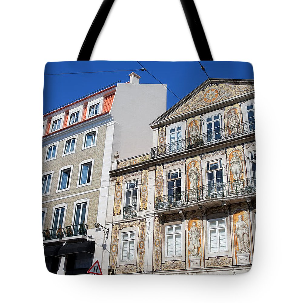 Building Tote Bag featuring the photograph Tiled Building In Chiado District Of Lisbon by Artur Bogacki