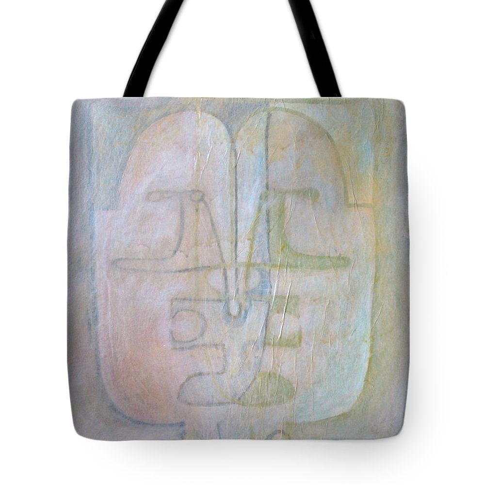 Abstract Faces Tote Bag featuring the painting Till We Have Faces by W Todd Durrance