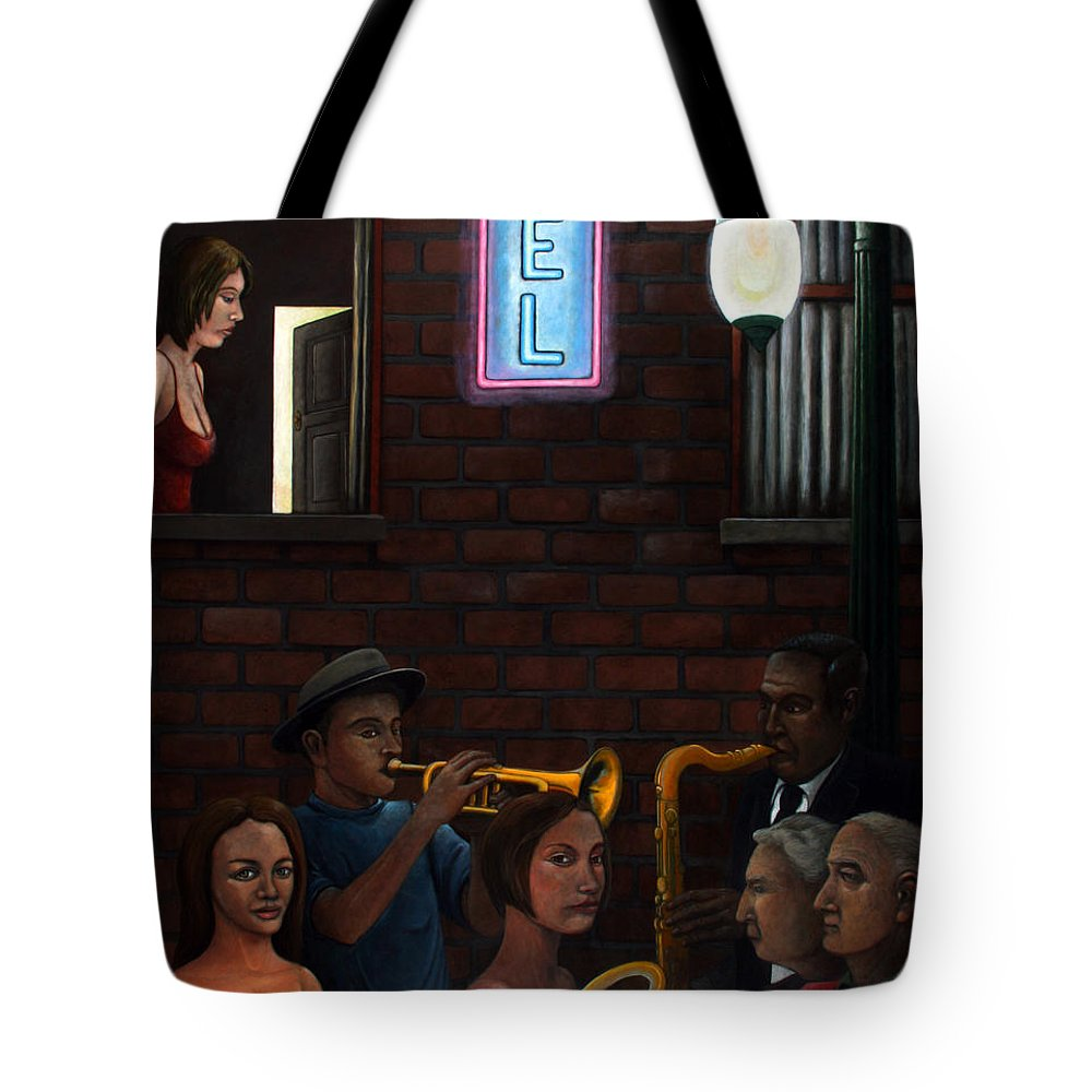 Street Musicians Tote Bag featuring the painting Till We Meet Again by Gerry High