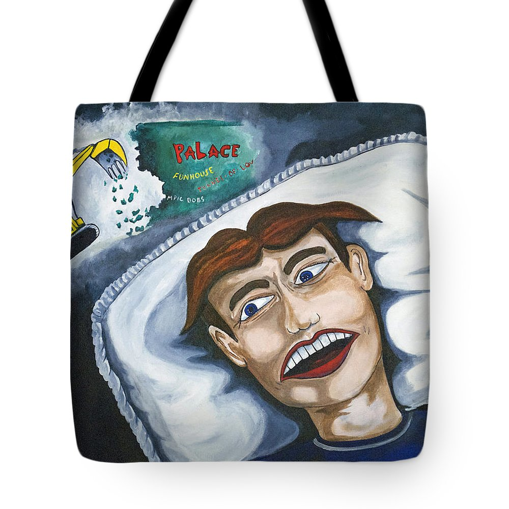 Asbury Park Tote Bag featuring the painting Tillies Nightmare by Patricia Arroyo