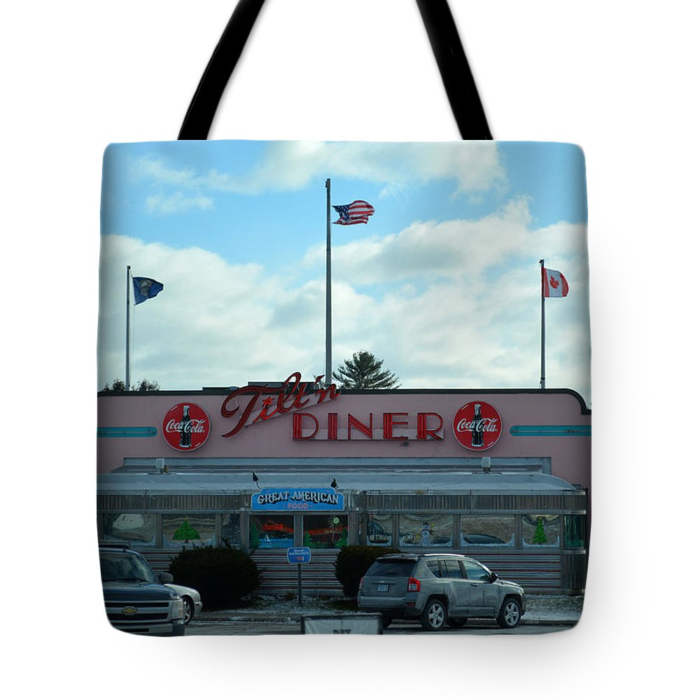 Tilt'n Diner Tote Bag featuring the photograph Tilt'n Diner by Mim White