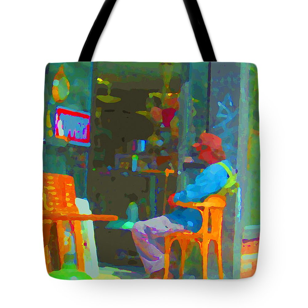 Street Scenes Tote Bag featuring the painting Tim Hortons Coffee And Donuts Sunday Aternoon At Tims Plateau Montreal Cafe Scene Carole Spandau by Carole Spandau