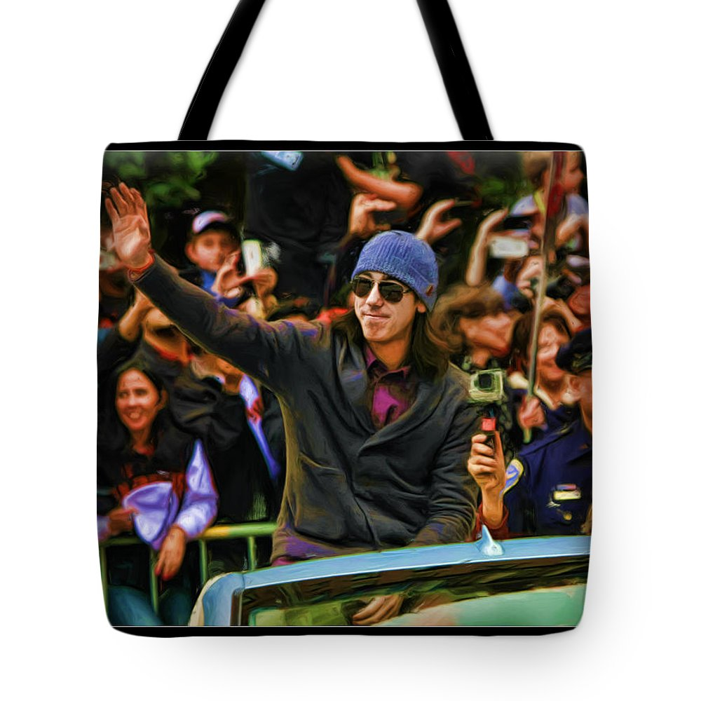 Tim Lincecum Tote Bag featuring the photograph Tim Lincecum World Series 2012 by Blake Richards