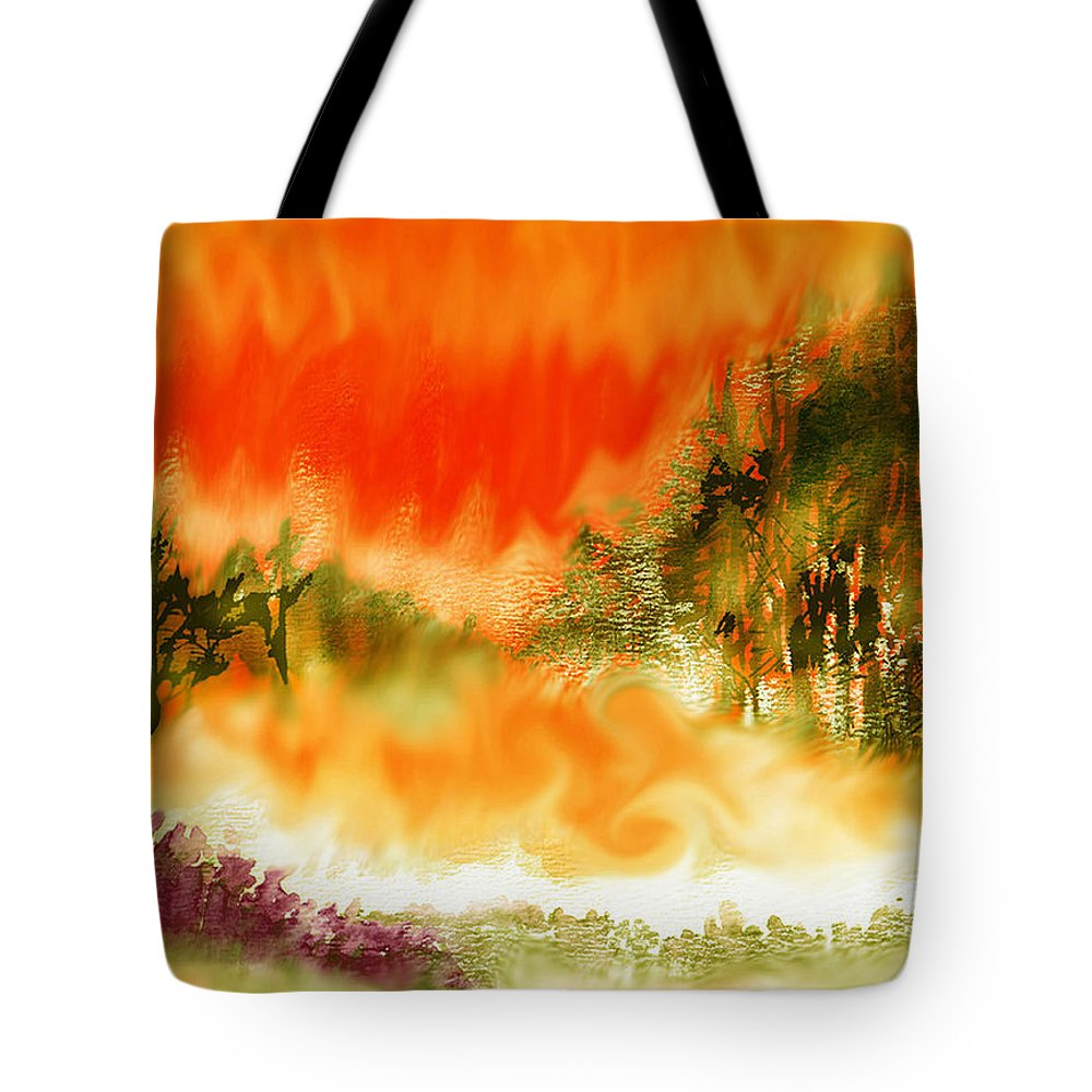 Timber Blaze Tote Bag featuring the mixed media Timber Blaze by Seth Weaver