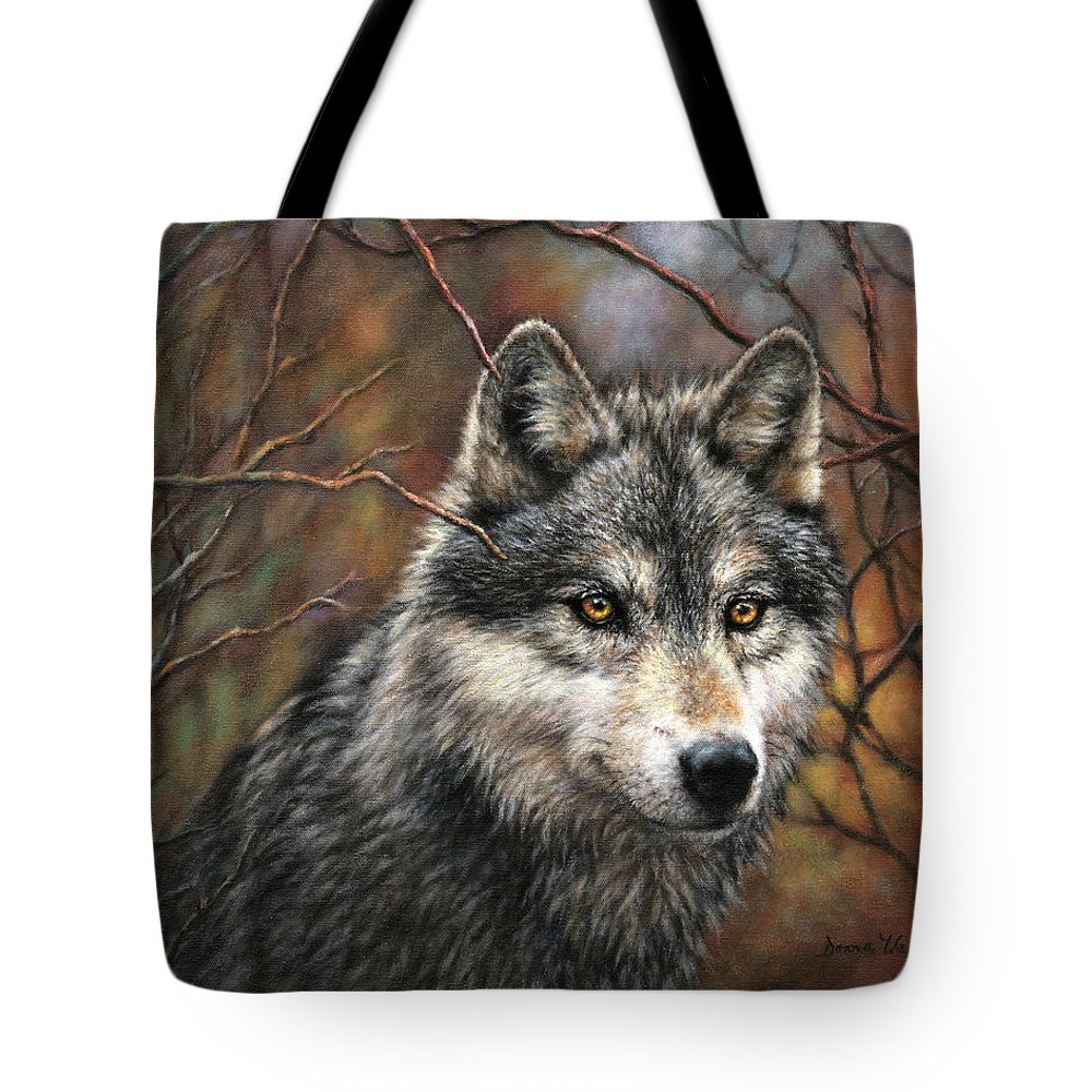 Wolf Tote Bag featuring the painting Timber Wolf by Donna Hillman Walsh