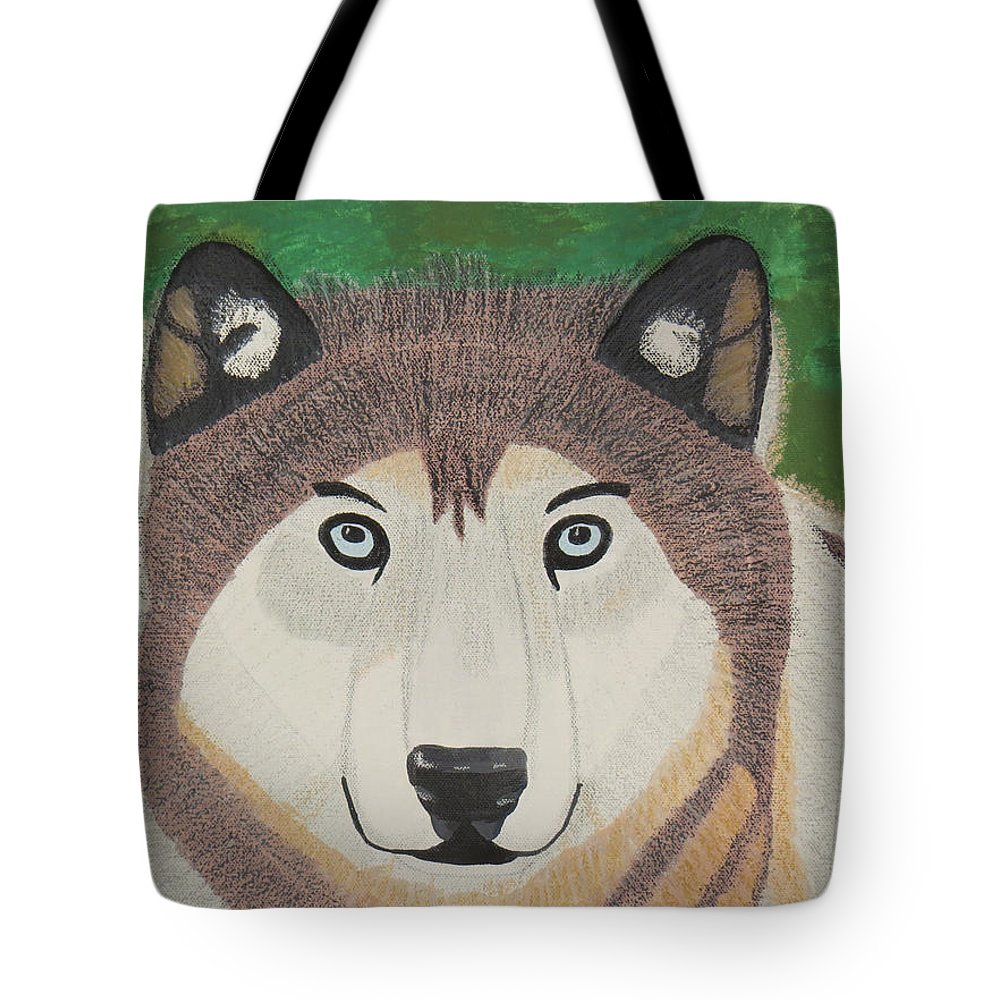 Wolf Tote Bag featuring the mixed media Timber Wolf by Jessica Foster