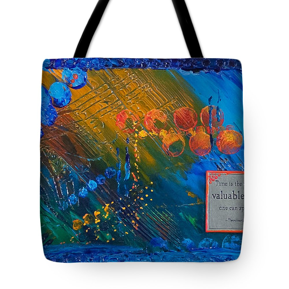 Abstract Tote Bag featuring the painting Time Abstract by Tracy L Teeter