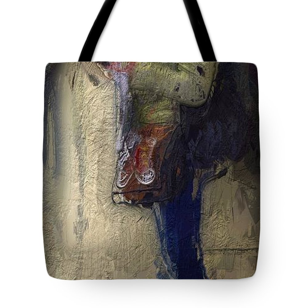 Girl Woman Female Newspaper Reading Break Waiting Portrait Urban Expressionism Tote Bag featuring the painting Time For A Break by Steve K