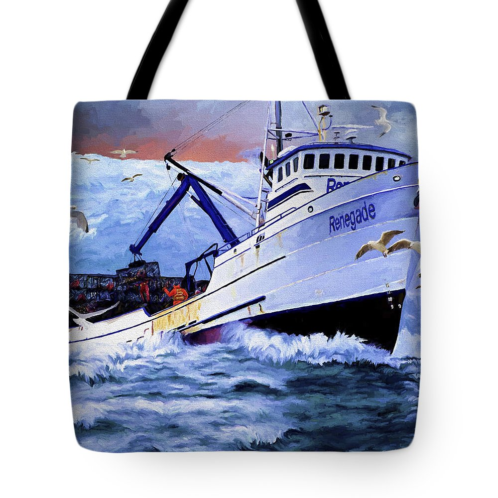 Alaskan King Crabber Tote Bag featuring the painting Time To Go Home by David Wagner