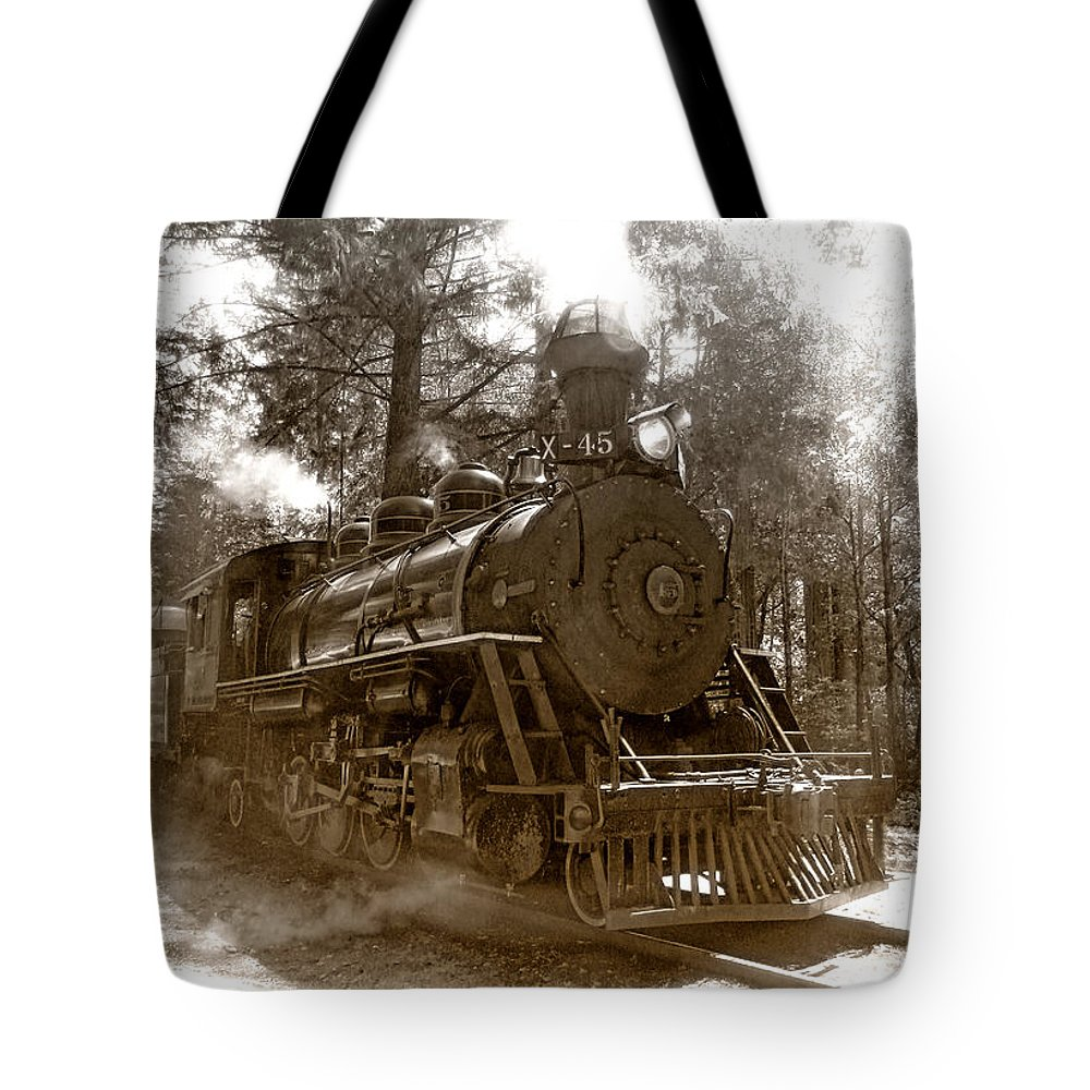 Locomotive Tote Bag featuring the photograph Time Traveler by Donna Blackhall