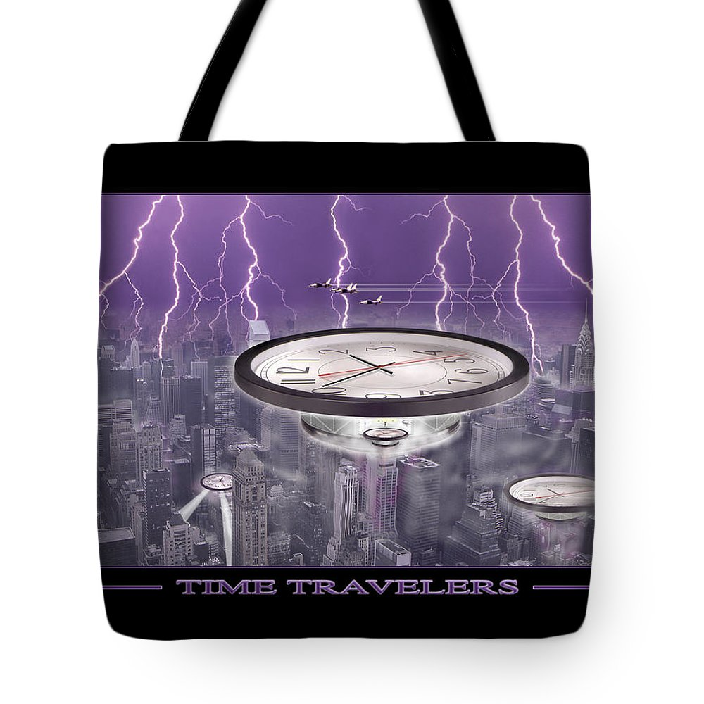 Cityscape Tote Bag featuring the photograph Time Travelers by Mike McGlothlen